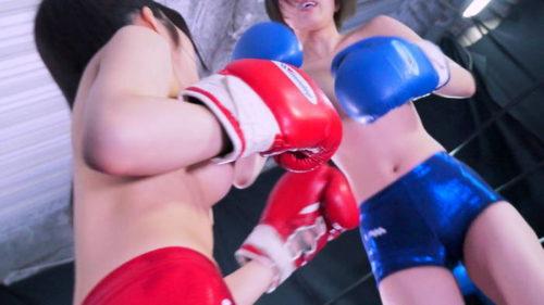 夏川ひまりがトップレスで椎名華とボクシング対決おっぱい丸出しの巨乳トップレスボクシングファイトのエロさは抜き放題って感じですね!AV